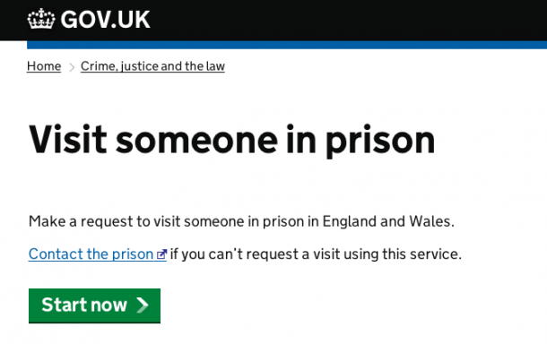 Visit someone in prison service screen shot