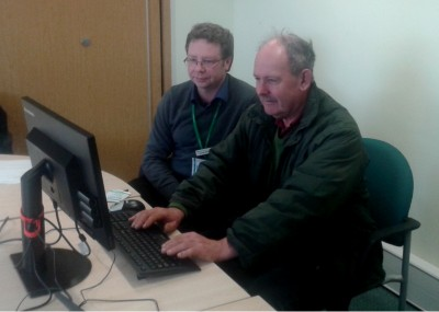 Photo of farmer receiving help at Leicester Support Centre