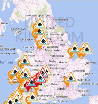 Picture of a UK map showing flood warnings