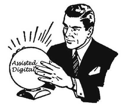 "A man holding a crystal ball, the words ""Assisted Digital"" in the ball"